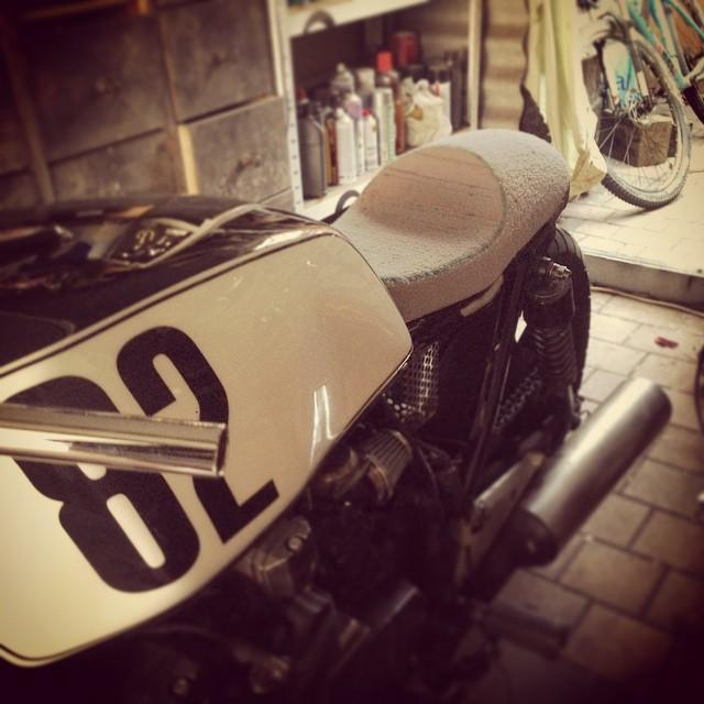 Working on seat for no.82 #kawasaki KZ750 #caferacer #project #77…