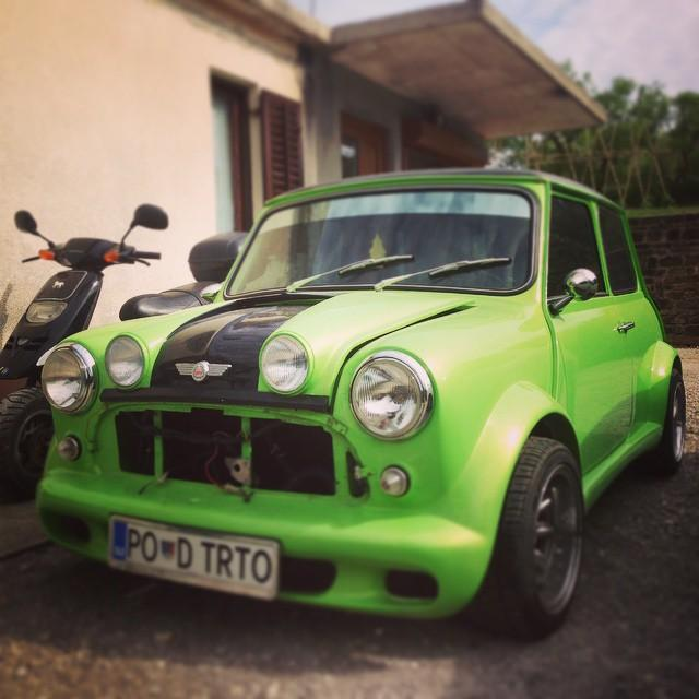 #mini #morris #turbo #green #mean #machine #vintage #racing #car #pocketracer #77 #77c  #7sevencustoms