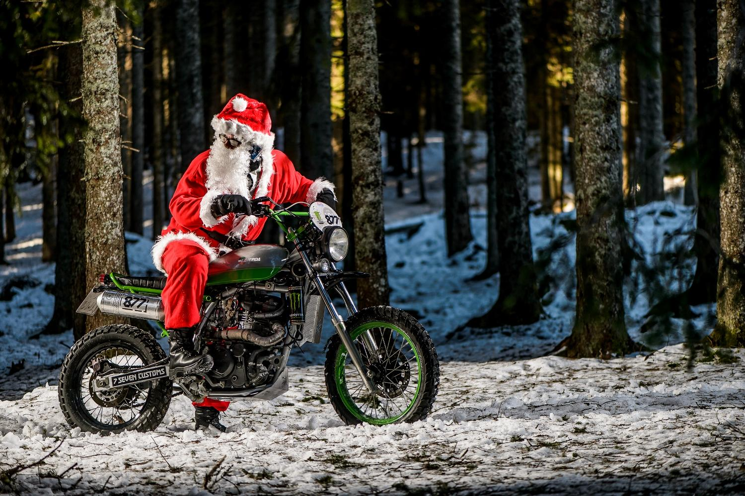 Santa on custom Kawasaki