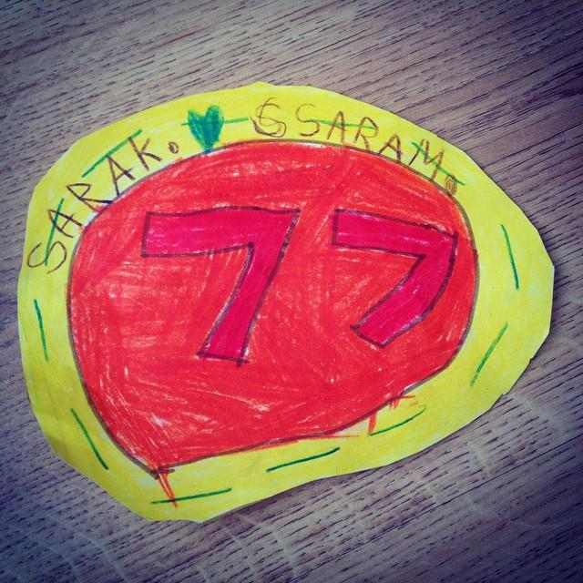 My litlle girl did this #custom #77 sign for me in #kindergarden. I just #love her! #mymySara ❤️❤️❤️#77c #7sevencustoms