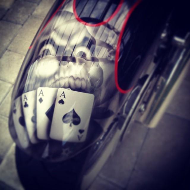 #skull #paint on #wheels #motorcycle #custom #airbrush #aces #bobber #chopper